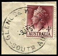 Lot 9555:Glencoe West: - 'GLENCOE WEST/9JY57/SOUTH AUST' on 4d lake QEII. [Rated 3R]  PO 20/5/1903; closed 22/10/1993.