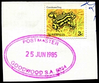 Lot 9373:Goodwood: - violet double-oval 'POSTMASTER/25JUN1985/GOODWOOD S.A. 5034' on 3c Frog.  PO c.1885.