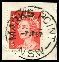 Lot 1319:Mark's Point: - 'MARK'S POINT/7JE67/N.S.W' (LRD) on 4c red QEII.  RO 1/1/1927; PO 1/7/1927.