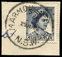Lot 1401:Marmong Point: - 'MARMONG POINT/29AU62/N.S.W.' (inverted year wheel) on 5d blue QEII.  PO 8/5/1933; closed 31/7/1978.