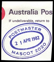 Lot 1324:Mascot: - violet triple-oval 'POSTMASTER/21APR1982/MASCOT 2020' on piece.  Renamed from North Botany PO 7/12/1911.