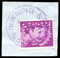 Lot 1427:Running Stream (2): - violet 'RUNNING STREAM/28?E7?/N.S.W' on 7c purple QEII perf 'G/NSW'.  PO 1/8/1912; closed 20/1/1988.