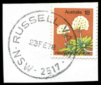 Lot 1428:Russell Vale: - 'RUSSELL VALE/23FE78/NSW-2517' on 18c Flower.  PO 1/6/1963; closed 31/8/1978.