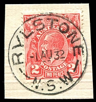 Lot 1072:Rylstone: - 'RYLSTONE/-1AU32/N.S.W' (type 2A), on 2d red KGV.  Renamed from Ryalston PO c.1853.