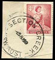 Lot 6938:Section Creek: - 'SECTION CREEK/5AU59/NSW-AUST' on 4d red QEII.  PO 8/12/1958; closed 13/2/1962. [Snowy Mountains Scheme]