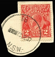 Lot 1487:RG: cut-down '  RG  /■■23JE37/N.S.W.' on 2d red KGV (partly cut-to-shape).  PO 16/4/1909.