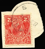 Lot 7754:S: 'S/730P24DE37/N.S.W', on 2d red KGV (partly cut-to-shape).