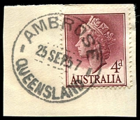 Lot 1548:Ambrose: - 26mm 'AMBROSE/25SEP57/QUEENSLAND' on 4d lake QEII.  RO 25/10/1910; PO 1/11/1915; closed 28/2/1977.