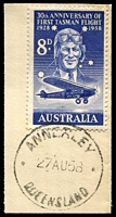 Lot 1549:Annerley: - 'ANNERLEY/27AU58/QUEENSLAND' on 8d Tasman.  Renamed from Boggo PO c.1892; RO c.-/9/1906; PO c.1914; RO c.1920; PO 1/6/1922.