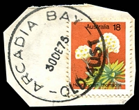 Lot 1385:Arcadia Bay: - 'ARCADIA BAY/30DE75/QLD-AUST' on 18c Flower. [Magnetic Island]  PO c.-/8/1934; replaced by Nelly Bay PO c.1994. [Magnetic Island]