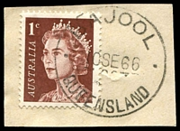 Lot 1552:Bajool: - 28mm 'BAJOOL/10SE66/QUEENSLAND' (LRD) on 1c brown QEII.  PO c.-/5/1903; RO c.-/2/1904; PO c.-/6/1912.