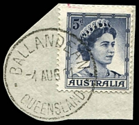 Lot 1553:Ballandean: - 'BALLANDEAN/4AUG61/QUEENSLAND' (recut) on 5d blue QEII (cut-to-shape). [Rated R]  PO 1/1/1873; RO 1/8/1890; PO c.1914.