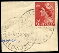 Lot 1554:Bardon South: - 2 overlapping strikes of 'BARDON SOUTH W.4/10-A13AP55/QLD-AUST' on 3½d red QEII. [Rated S]  PO 19/12/1949; closed 3/6/1977.