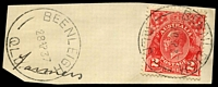 Lot 1555:Beenleigh: - 2 strikes of 'BEENLEIGH/28AP37/QLD.' on 2d red KGV. [Rated R]  PO 1/8/1867.