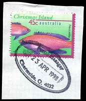 Lot 1580:Chermside: - double-oval 'Postal Manager/23APR1998/Chermside, Q. 4032' on 45c Xmas Island.  Renamed from Downfall Creek PO c.-/5/1903.