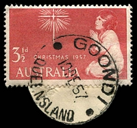 Lot 1608:Goondi: - 'GOONDI/10DE57/QUEENSLAND' (LRD) on 3½d Xmas (cut-to-shape).  RO c.1893; PO 1/9/1914; closed 31/10/1979.