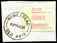 Lot 1622:Homestead: - 'HOMESTEAD/1230P18JE86/QLD 4816' (ERD) on 33c Frama. [Rated 4R]  RO c.1884; PO c.1894.