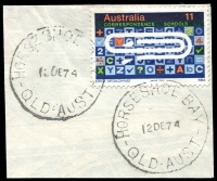 Lot 8380:Horseshoe Bay: - 2 strikes of 'HORSESHOE BAY/12DE74/QLD-AUST' (LRD) on 11c UPU Centenary. [Rated R]  PO c.1935; closed 31/8/1982. [Magnetic Island]