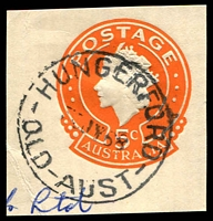 Lot 1625:Hungerford (3): - 'HUNGERFORD/30JY68/QLD-AUST' (LRD) on 5c cut-out. [Rated 2R]  Replaced Hungerford, nsw PO 24/2/1941; closed c.1985.