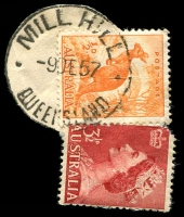 Lot 9056:Mill Hill: - 'MILL HILL/9DE57/QUEENSLAND' (LRD) on ½d Roo & 3½d red QEII (cut-to-shape).  RO c.1892; PO 1/7/1927; closed 8/1/1967.