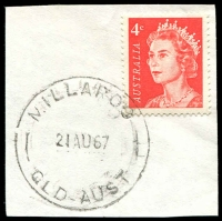 Lot 1640:Millaroo: - 'MILLAROO/21AU67/QLD-AUST' on 4c red QEII. [Rated R]  PO 1/7/1955; closed 30/11/1972.