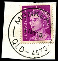 Lot 1494:Monkland: - 'MONKLAND/11MY73/QLD-4570' on 7c purple QEII. [Rated 3R]  PO 1/11/1889; closed 1/9/1979.