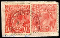 Lot 1666:Pinkenba: - 'PINKENBA/24AU30/QUE[ENSLAND]' (ERD by 3+ years) on 1½d red KGV x2.  RO c.1892; PO c.1897.