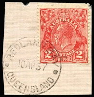 Lot 1668:Redland Bay: - 'REDLAND BAY/10AP37/QUEENSLAND' on 2d red KGV.  RO c.1881; PO 1/7/1890.