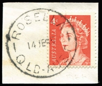 Lot 1673:Rosella (2): - 'ROSELLA/14JE66/QLD-AUST' on 4c red QEII. [Rated R]  PO 1/2/1947; closed 29/8/1987.