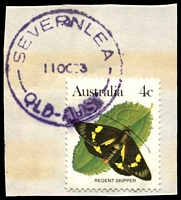 Lot 7830:Silkwood East: - violet 'SEVERNLEA/11OC83/QLD-AUST' on 4c Butterfly.  Renamed from Maria Creek PO c.-/8/1928.