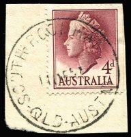 Lot 1678:South Rockhampton: - 'SOUTH ROCKHAM[PT]ON/11DE5?/QLD-AUST' on 4d lake QEII. [Rated 3R]  PO 1/7/1952; renamed Rockhampton South PO c.-/11/1959.