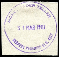 Lot 1680:Surfers Paradise: - violet 44mm 'MONEY ORDER TELLER/31MAR1981/SURFERS PARADISE QLD. 4217' on piece. [Unrecorded]  Renamed from Elston PO 1/12/1933.
