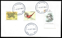 Lot 8831:Wandal: - 3 strikes of double-circle 'WANDAL/5OCT1982/QLD-4700', on 2c Finch, 3c Frog & 22c Goldmining (tone spot) on unaddressed cover.  RO c.-/9/1919; PO c.-/6/1927.