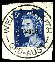 Lot 2035:Weipa South: - 'WEIPA SOUTH/11MR68/QLD-AUST' on 5c blue QEII. [Rated R]  PO 1/12/1967; closed 31/5/1982.