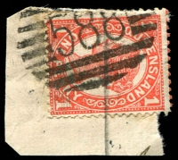 Lot 7097:588: '588' BN on 1d 4-Corners. [Rated S]  Allocated to Mount Garnet-RO c.1897; PO 25/7/1899.