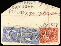 Lot 1524:86: unframed duplex 'GAYNDAH/JY24/00/QUEENSLAND - 86' ('86' inverted) on 1d red & 2d blue 4-Corners pair, '[RE]GISTERED/GAYNDAH' (A2) handstamp alongside. [Rated 3R]  Allocated to Gayndah-PO 1/1/1850.