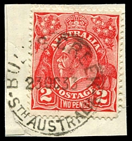 Lot 1778:Bull's Creek: - 'BULL'S CREEK/23OC33/STHAUSTRALIA' typically worn strike on 2d red KGV.  PO 18/11/1863; renamed Bull Creek PO 5/12/1940.