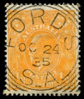 Lot 1804:Fords (2): - squared-circle 'FORDS/OC24/35/S_A' on ½d orange KGV. [Rated 3R]  PO 6/3/1882.