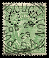 Lot 1906:Port Broughton: - 28mm squared-circle 'PORT BROUGHTON/OC20/23/S.A' on ½d green KGV perf 'OS'.  PO c.1873.