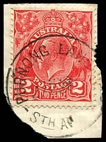 Lot 1910:Purnong Landing: - 'PURNONG LANDING/27DE3?/STH AU[STR]' on 2d red KGV.  PO 14/5/1898; closed 30/6/1975.