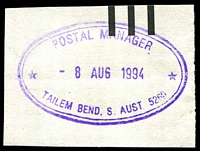 Lot 2195:Tailem Bend (2): - violet double-oval 'POSTAL MANAGER/8AUG1994/TAILEM BEND, S. AUST. 5260' on piece.  PO c.1898; LPO 16/4/1998.
