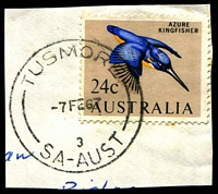Lot 1772:Tusmore: - 'TUSMORE/7FE67/3/SA-AUST' (LRD by more than 4 years) on 24c Kingfisher. [Rated 2R]  PO c.1929; renamed Glenside PO 15/5/1967.