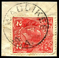 Lot 2204:Waddikee: - 'WADDIKEE/????37/S.A.' (no arcs) on 2d red KGV.  Renamed from Waddikie PO c.1926; closed 2/11/1972.