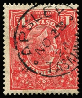 Lot 10782:Apsley: - framed 'APSLEY/NO28/24/TASMANIA' on 1½d red KGV.  PO 1/9/1890; closed 14/11/1969.