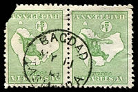 Lot 1966:Bagdad: - framed 'BAGDAD/MY11/14/TASMANIA' on ½d Roo pair (faults).  PO 1/12/1878.