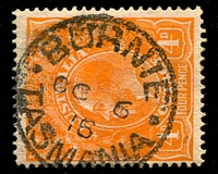 Lot 1973:Burnie: - Type 1(ii) framed 'BURNIE/OC6/16/TASMANIA' (cross stops) on 4d orange KGV.  Renamed from Emu Bay PO 1/1/1882.