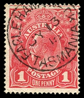 Lot 9373:Eagle Hawk Neck (2): - framed 'EAGLEHAWK NECK/JY13/15/TASMANIA' on 1d red KGV.  RH 11/1/1895; PO 1/1/1898; closed 30/12/1974.