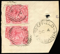 Lot 1961:101: 2 strikes on 1d Sideface x2 (1x large corner part missing) tied by framed 'SHEFFIELD/OC4/??/TASMANIA'.  Allocated to Kentishbury-RH 1/11/1862; PO c.1866; renamed Sheffield PO 1/1/1882.