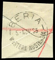 Lot 3150:Beria (2): - 'BERIA/5NOV35/WESTERN AUSTRALIA' (A27) on registered piece.  TO 13/11/1933; PO 8/2/1934; closed 1/7/1943.
