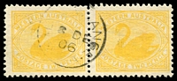 Lot 3154:Black Range: - framed 'BL[ACK R]ANGE/8DE/06/W.A' on 2d yellow pair.  PO 1/10/1903; renamed Nungarra PO 12/3/1907.